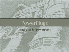 PowerPoint template displaying picture of a building in faded ash and white color