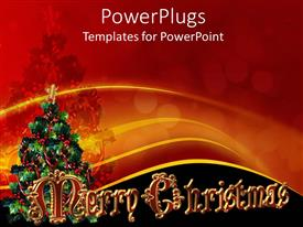 PowerPoint template displaying picture of a Christmas tree with a Merry Christmas text