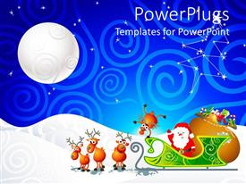 PowerPoint template displaying picture of Santa clause with his cart and snow