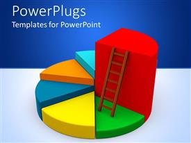 PowerPlugs: PowerPoint template with a pie chart with a brown ladder on a part of it