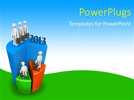 PowerPlugs: PowerPoint template with a pie chart in different shape and bluish background