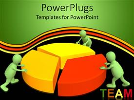 PowerPlugs: PowerPoint template with a pie chart with figures and blackish background