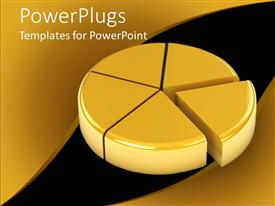 PowerPlugs: PowerPoint template with a pie chart in golden color with black background