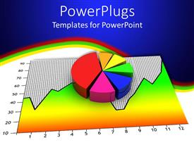 PowerPlugs: PowerPoint template with a pie chart and a graph with bluish background