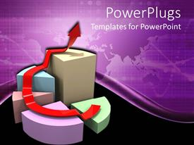 PowerPlugs: PowerPoint template with a pie chart with a growth arrow and purple background