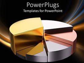 PowerPoint template displaying a pie chart made of various kinds of metal and metallic background