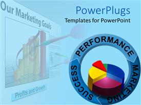 PowerPlugs: PowerPoint template with a pie chart with a number of figures in background