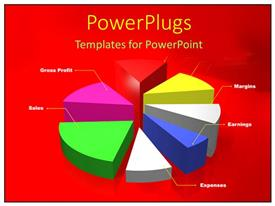 PowerPlugs: PowerPoint template with a pie chart with reddish background
