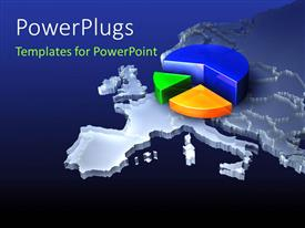 PowerPlugs: PowerPoint template with a pie chart on top of map of the Earth