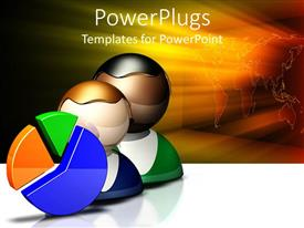 PowerPlugs: PowerPoint template with pie chart with two heads, glowing world map background, business