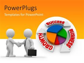 PowerPlugs: PowerPoint template with a pie chart with yellowish background and place for text