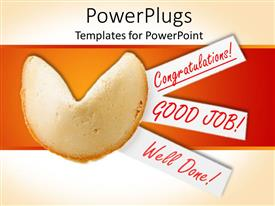 PowerPlugs: PowerPoint template with a piece of bread with congratulation and orange background