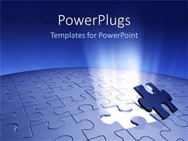 PowerPlugs: PowerPoint template with piece of puzzle missing problem and solution business planning blue background