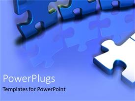 PowerPlugs: PowerPoint template with pieces of blue puzzle connecting the dots teamwork focus realization