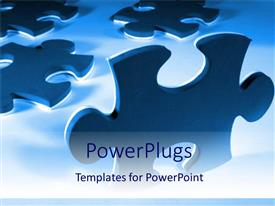 PowerPlugs: PowerPoint template with pieces of puzzle blue background problems and solutions success business