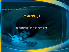 PowerPlugs: PowerPoint template with pieces of a puzzle metaphor blue and yellow background problems solutions