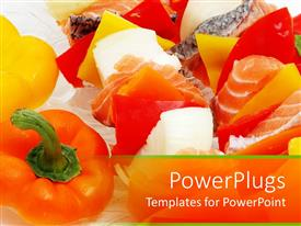 PowerPoint template displaying pieces of sushi with slices of peppers, culinary arts, cooking, Japanese food, hospitality, restaurant, hospitality