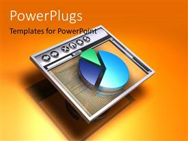 PowerPlugs: PowerPoint template with a piechart with a screen and orange background