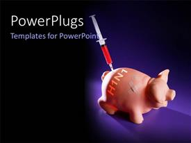 PowerPlugs: PowerPoint template with a pig ggang  injection and bluish background