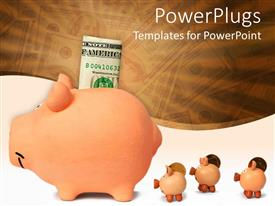 PowerPoint template displaying a piggy bank and a dollar along with other piggy banks