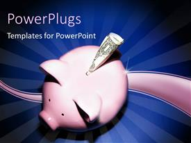 PowerPlugs: PowerPoint template with piggy bank with a dollar bill with curve and blue rays