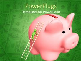 PowerPlugs: PowerPoint template with a piggy bank with a figure on a ladder