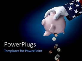 PowerPoint template displaying a piggy bank in a hand with glove and bluish background