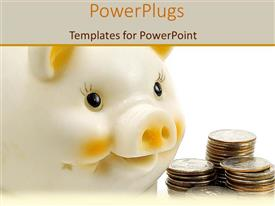 PowerPlugs: PowerPoint template with a piggy bank with a number of coins