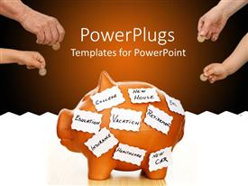 PowerPoint template displaying a piggy bank with a number of people putting coins in it