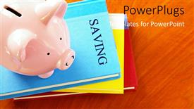 PowerPoint template displaying a number of files with a piggy bank