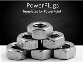 PowerPlugs: PowerPoint template with pile of arranged metallic nuts on a black background