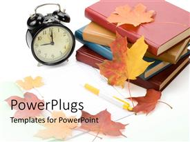 PowerPoint template displaying pile of books, alarm clock and autumn leaves on white