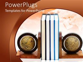 PowerPlugs: PowerPoint template with a pile of books in the center