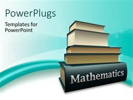 PowerPoint template displaying pile of books on mathematics textbook over blue and white background
