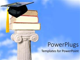 PowerPoint template displaying pile of books wearing graduation cap over white sculpture