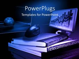 PowerPlugs: PowerPoint template with pile of business and telecommunication books with computer monitor
