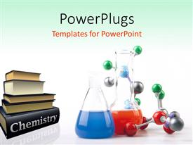 PowerPoint template displaying pile of Chemistry textbooks with colored solutions in beaker and molecular chain