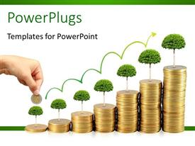 PowerPlugs: PowerPoint template with pile of coins aligned in an increasing order with tree on top and arrow head depicting financial growth concept