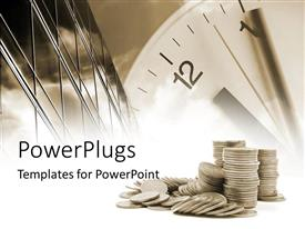 PowerPlugs: PowerPoint template with pile of coins with large clock and tall modern building
