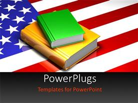 PowerPlugs: PowerPoint template with pile of colored books on United States of America flag