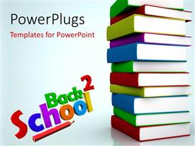 PowerPlugs: PowerPoint template with a pile of different books with text that spell out the words ' back 2 school'