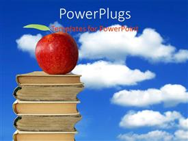 PowerPlugs: PowerPoint template with a pile of five books with a red apple on it