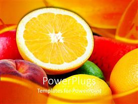 PowerPlugs: PowerPoint template with a pile of fresh apples, oranges and water melons