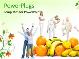 PowerPlugs: PowerPoint template with pile of fruits with matured couples playing on them