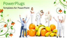 PowerPoint template displaying pile of fruits with matured couples playing on them
