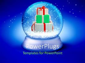 PowerPlugs: PowerPoint template with pile of gift boxes in transparent sphere over blue background
