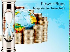 PowerPlugs: PowerPoint template with pile of gold coin around globe with hour glass on blue surface