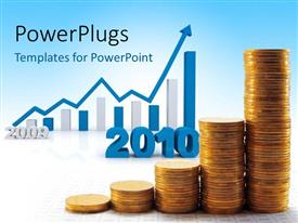 PowerPoint template displaying pile of gold coins form chart with 3D year 2010