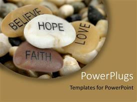 PowerPlugs: PowerPoint template with pile of inspirational rocks Believe Hope Faith Love