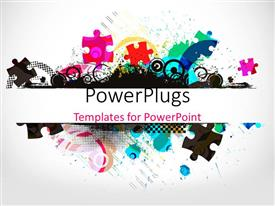 PowerPlugs: PowerPoint template with pile of jigsaw puzzle pieces in various colors and patterns